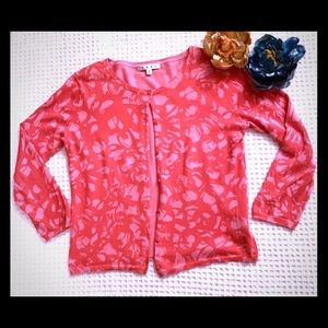 CAbi Coral Graphic Print Cropped Cardigan. SIze M